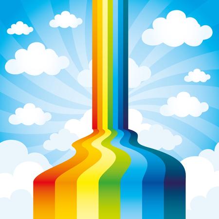 cartoon rainbow: Arco iris y nubes. Vectores