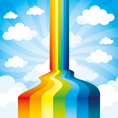 Rainbow and clouds.