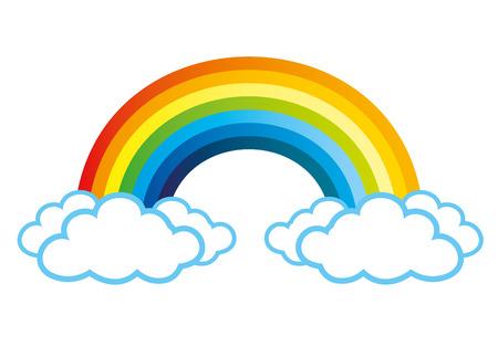 arco iris: Arco iris y nubes. Vectores