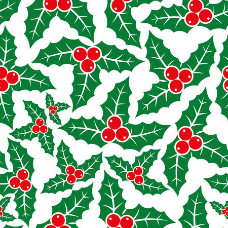 christmas plant: Holly Christmas plant pattern for seamless background.