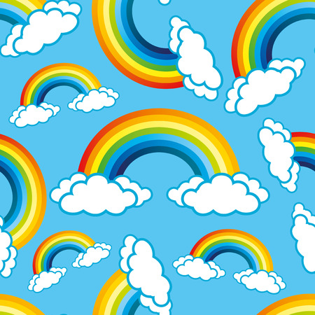 rainbow print: Rainbows pattern for seamless background. Illustration