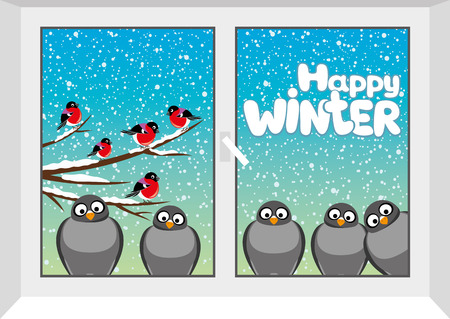 cartoon banner: Happy winter.