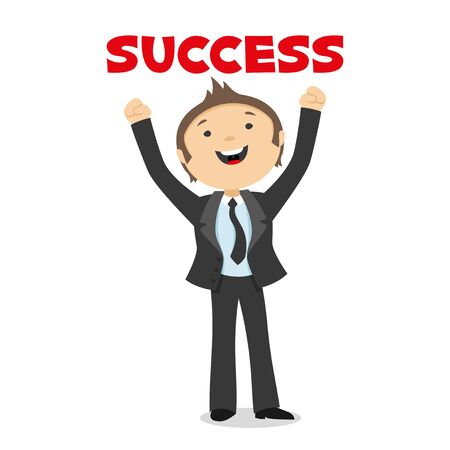 enjoys: Businessman enjoys success.
