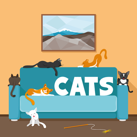 lying on couch: Cute cats on the couch. Illustration