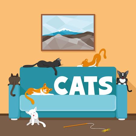 gato caricatura: gatos lindo en el sofá. Vectores