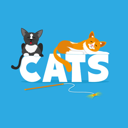 hissing: Cute cats. Illustration
