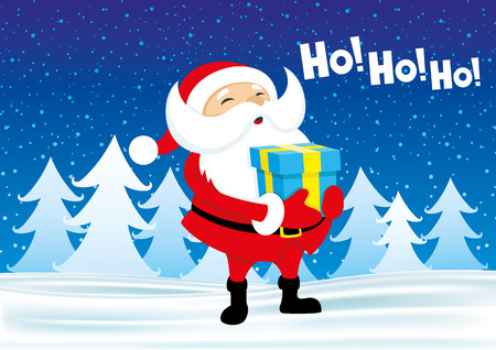 ho: Santa with a gift in their hands shouts ho ho ho! Illustration