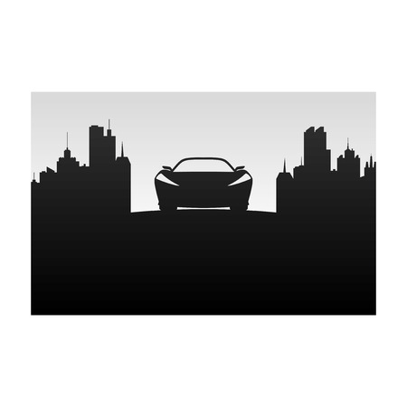 city background: Car on a background of the city.