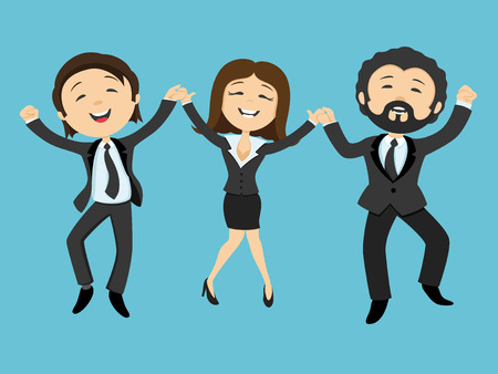 business jump: Happy business people holding hands in a jump
