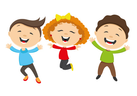 laughing girl: Happy friends jumping on white background  Illustration