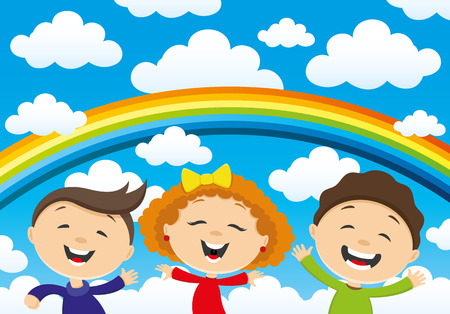 teenagers laughing: Happy children and a rainbow in the clouds.