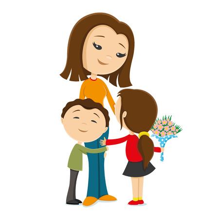 beloved: Children give beloved mother a bouquet of flowers. Illustration
