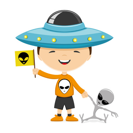 flying hat: A child wearing a hat in the form of a flying saucer and with a toys in his hands.