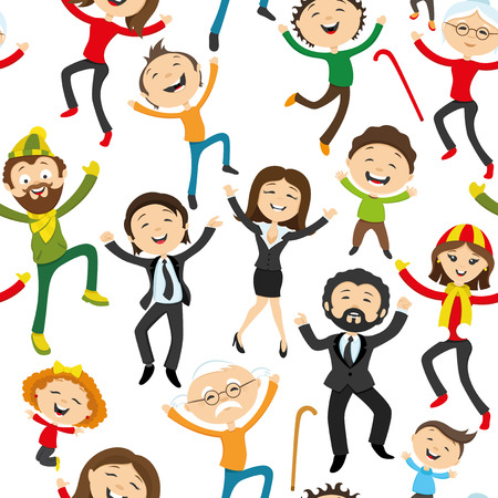 greeting people: Happy people jumping on a white background. Illustration