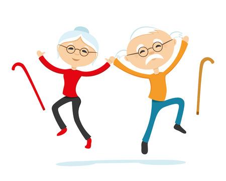 Energieke bejaarde echtpaar, hand in hand in een sprong.