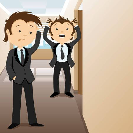 corridor: Businessman standing in a corridor office and scratching his head. Illustration