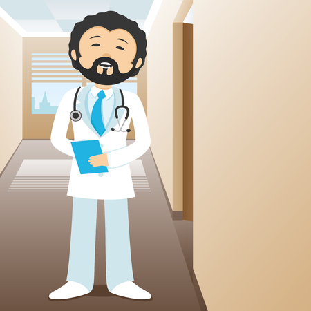Doctor standing in the hallway of clinic.