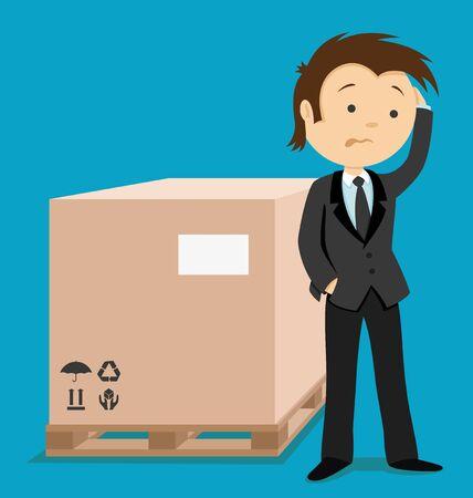 Businessman and box. Illustration