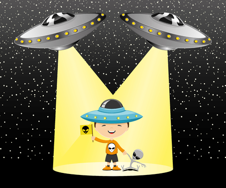 ufos: The child is in the rays of UFOs Illustration
