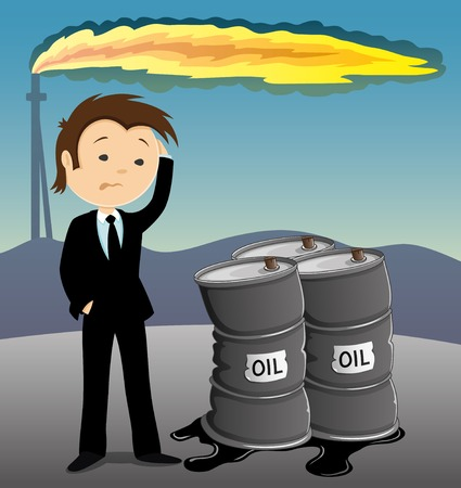 lading: Businessman anxiously looking at the barrels with oil.