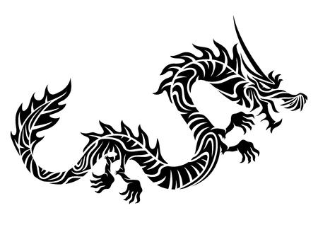 El signo del dragón en un fondo blanco. Ilustración de vector