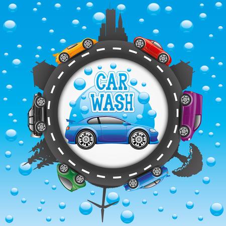 silhouette voiture: Lavage de voitures. Illustration