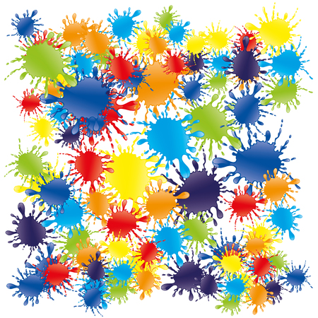 splash abstract: Bright colorful splashes of rainbow colors on a white background