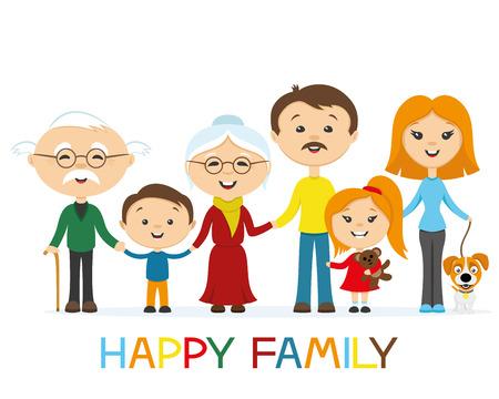 happy family: Happy family holding hands. Illustration
