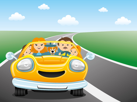child and dog: Happy family rides in the car