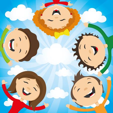 happy people group: happy friends