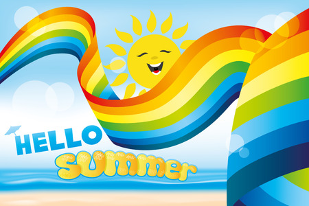 cartoon banner: Rainbow and sun Illustration