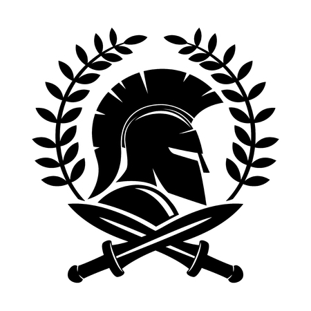 warrior sword: Spartan helmet. Illustration