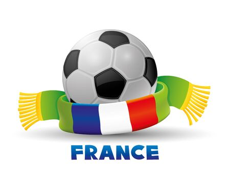scarf: Green scarf with the flag of France and soccer ball