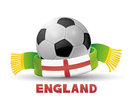 Green scarf with the flag of England and soccer ball