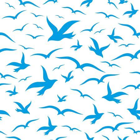 blue silhouettes: Blue silhouettes birds