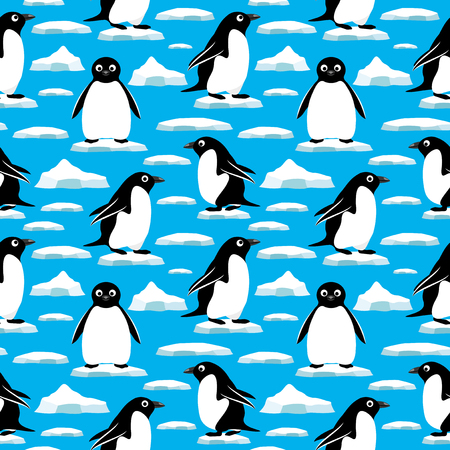 ice floes: Penguins on ice floes. Illustration