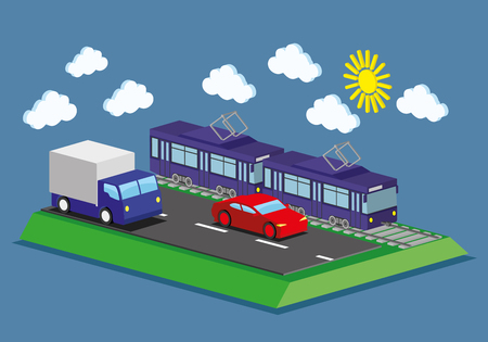 Tram, car and truck.