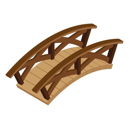 puente de madera isométrica. Ilustración de vector