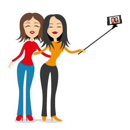 girlfriends: Two girlfriends make selfie portrait on smart phone.
