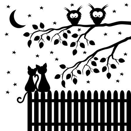 Two cats sitting on the fence.