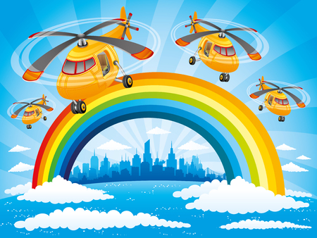 helicopters: Rainbow, clouds and helicopters. Illustration