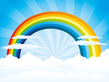 rainbow sky: Rainbow and clouds in the blue sky.