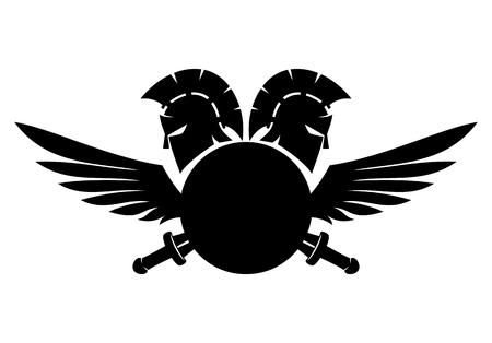 Spartan helmet, shield, sword and wings.