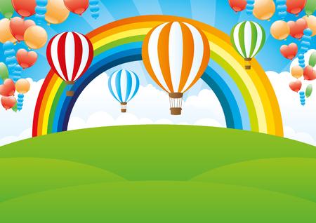 rainbow: Rainbow and balloons. Illustration