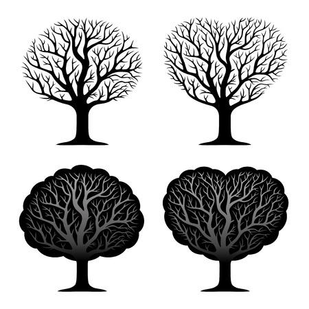 genealogical: Set of four trees.