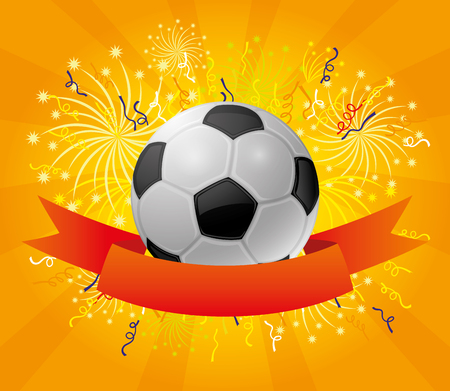 award background: A soccer ball and a red ribbon.