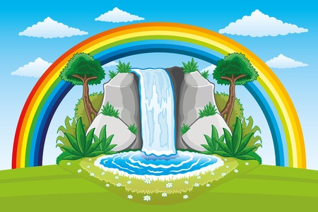 waterfall: Beautiful waterfall and rainbow.