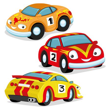Cute racing cars. 向量圖像