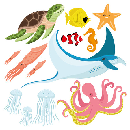 Sea turtle with fish, starfish, seahorse, squid, stingray, jellyfish, and octopus.