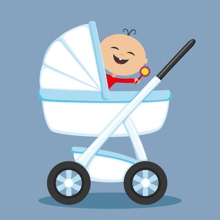 Bebé feliz en el cochecito.